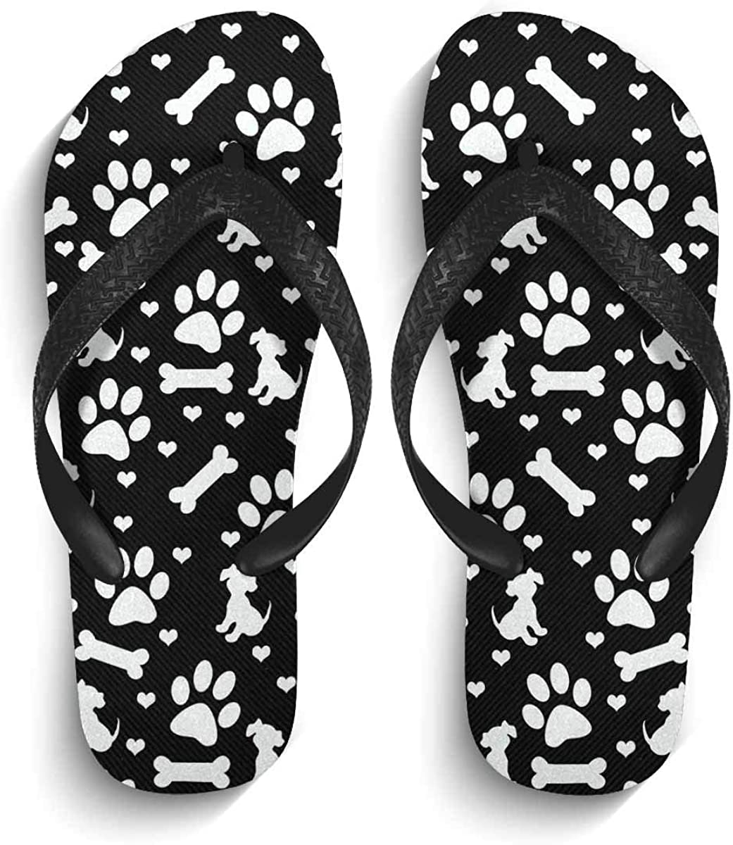 InterestPrint Men's Non-Slip Flip Flops Black and White Dog Paw Print Puppy Bone and Hearts Slim Thong Sandal Outdoor Casual Footwear XL