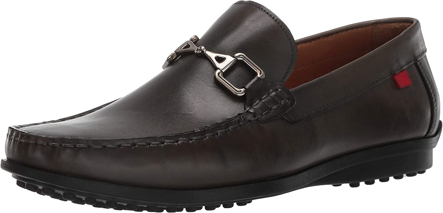 MARC JOSEPH NEW YORK Mens Grainy Leather Carneige Hill Buckle Loafer, Graphite Brushed Nappa 11 M US