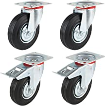 Mvpower Swivel Caster Wheels, 4 Pack Heavy Duty Metal Caster 4 Inch Polyurethane Wheels No Noise Wheels with 360 Degree Top Plate Casters ( 2 with Brake 2 Fixed Plate ) -Black