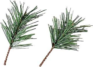 シミュレーション松の枝と葉クリスマスオーナメントクリスマス松針葉挿し木10個