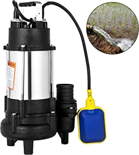 Happybuy Sewage Pump 3/4 HP Submersible Sump Pump 5020 GPH Ejector Pump 46ft Lift..