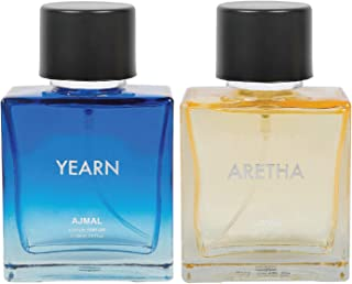 Ajmal Yearn for Men & Aretha for Women EDP Combo pack of 2 each 100ml (Total 200ML) + 4 Parfum Testers