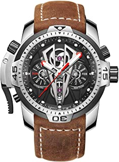 Mens Sport Mechanical Watches with Steel Black Dial Automatic Watch Calfskin Leather Strap RGA3591