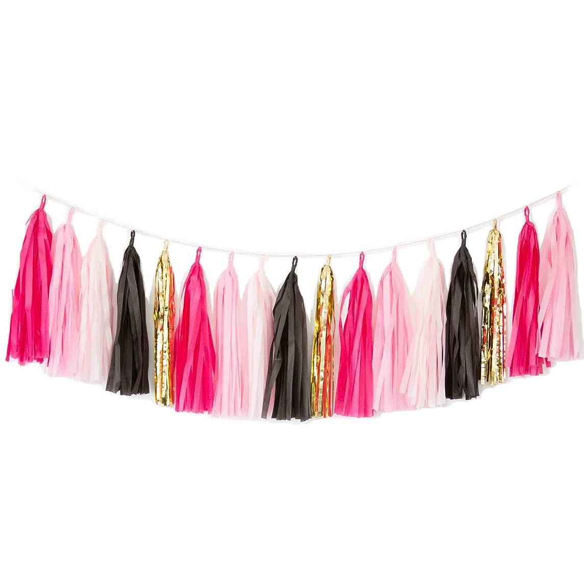 Blush Bazaar Gold Tassel Garland, Hot Pink/Pink/Blush/Black