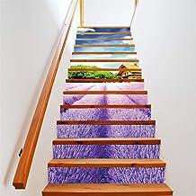 13 Stuk Mooie Lavendel Trap Sticker PVC Sticker Verwijderbare Trap Sticker Art Decor Muurschilderingen Wanddoek 18 * 100cm...