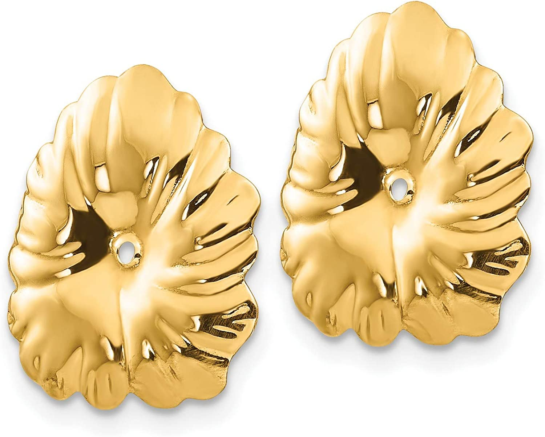 14k Yellow Gold Polished Fancy Earring Jackets 15x14 mm