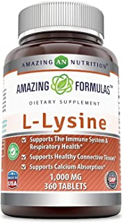 Amazing Nutrition Amazing Formulas L-Lysine - 1000mg Amino Acid Vitamin Tablets - Commonly Used for Cold Sores, Shingles, Immune Support, Respiratory Health & More - 360 Vegetarian Tablets