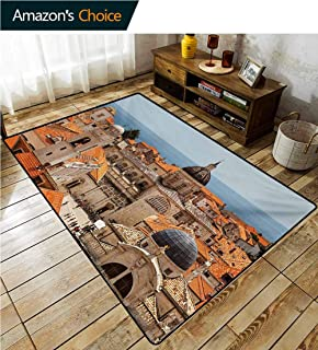 TableCoversHome European High Traffic Area Rug Kids, Aerial View on The Old City of Dubrovnik Walls Medieval Croatia European View Fashionable High Class Living Dinning Room, (3'x 8') Multicolor