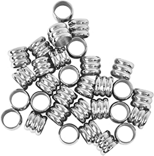 Metal Stainless Steel Spacer Loose Thread Beads Fit European Charms Bracelet for DIY Jewelry Making Silver 6mm 20Pcs