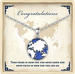 """LOVEON Sterling Silver Compass Necklace World Map Pendant Necklace Traveler Graduation Jewelry Gifts for Women Girls, 18"""" ..."""
