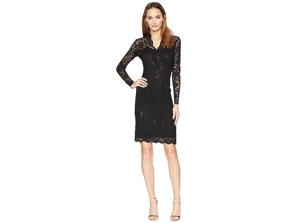 MARINA Long Sleeve Scalloped Stretch Lace Short Dress (Black) Women