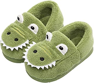JACKSHIBO Girls Boys Home Slippers Warm Dinosaur House Slippers for Toddler Fur Lined Winter Indoor Shoes