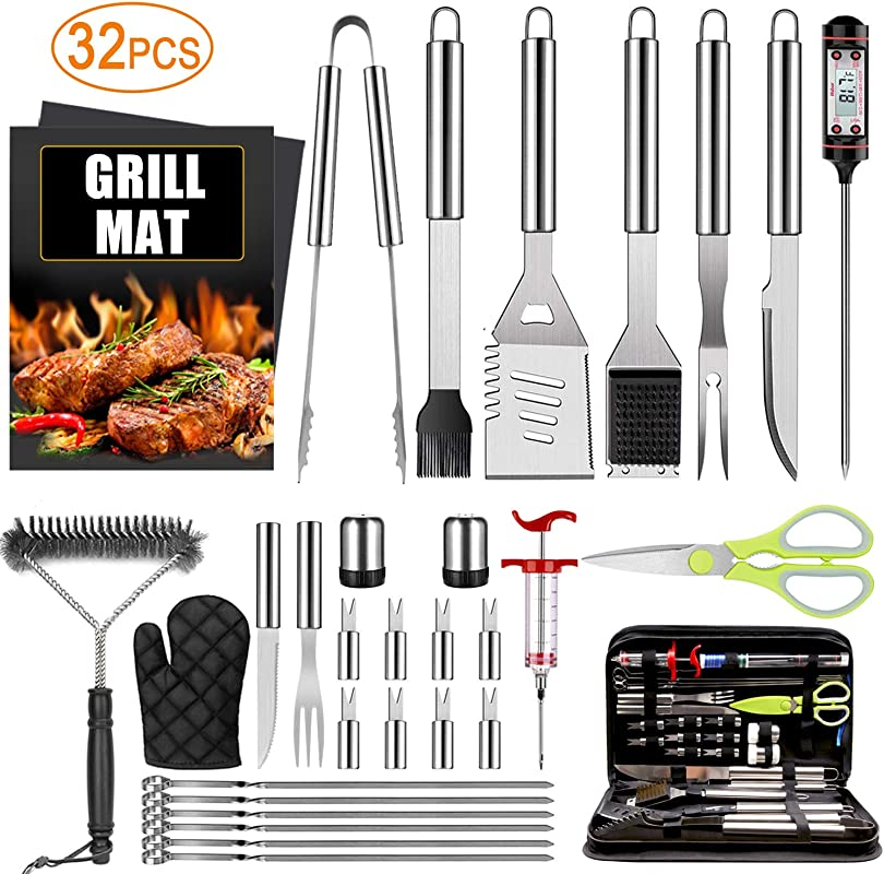 32PCS BBQ Grill Accessories Tools Set Stainless Steel Grilling Tools With Carry Bag Thermometer Grill Mats For Camping Backyard Barbecue Grill Tools Set For Men Women