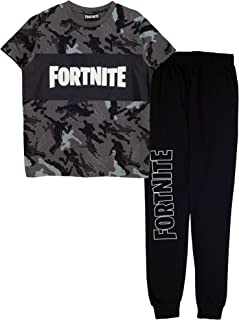 Fortnite Emotes Camo Boys Long Pyjamas Set Black Juego de Pijama para Niños