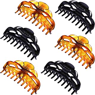Lomodo 6 Pieces 5.2 Inch Large Hair Claws For Thick Hair Plastic Hair Clips Claw Banana Hair Claws Clip French Design Acce...