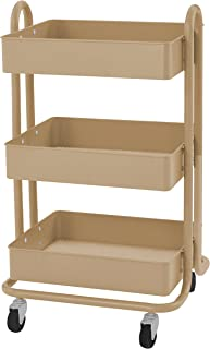 ECR4Kids 3-Tier Metal Rolling Utility Cart - Heavy Duty Mobile Storage Organizer, Sand