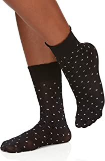 Berkshire womens unisex-adult Plus Dot Opaque Anklet Sock With Scalloped Top Hosiery