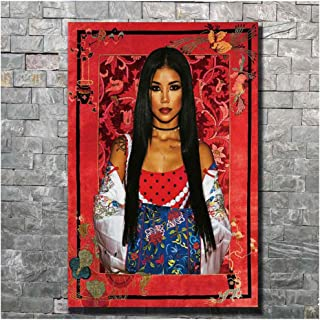 yhyxll Jhene Aiko Trip Music Cover Singer Art Poster Wall Canvas Print Modern Painting Art Home Decor Picture Print on Canvas -60x80cm No Frame