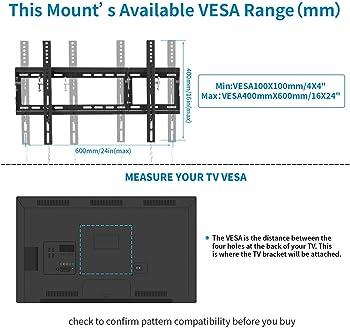 EverstoneAdjustableTiltTVWallMountBracketforMost32-80InchLED,LCD,OLED,PlasmaFlatScreen,CurvedTVs,LowPr...