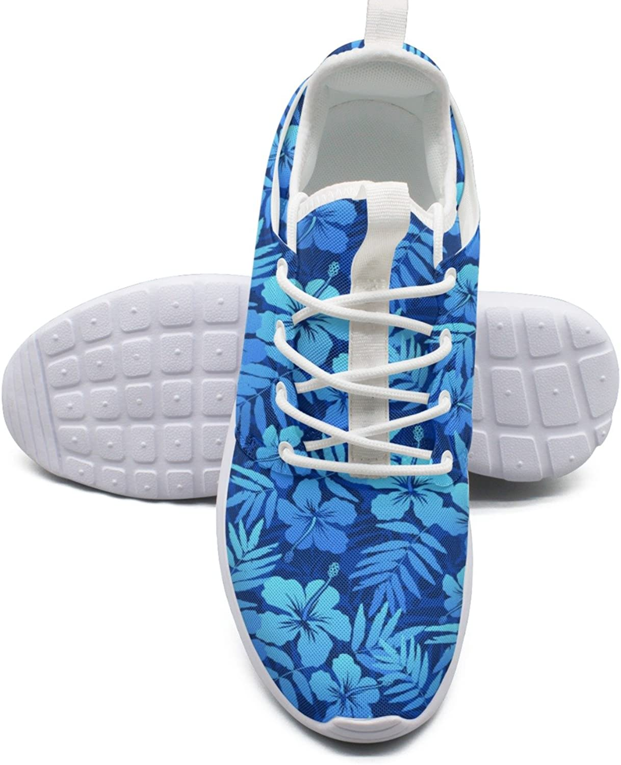 bluee Tropical Flowers Women's Lightweight Mesh Tennis Sneakers Climbing Athletic shoes