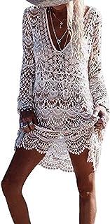 LATH.PIN Copricostumi da Bagno in Pizzo per Donna Casual Scollo a V Copricostume da Mare Elegante Bikini Cover Up Beachwar...