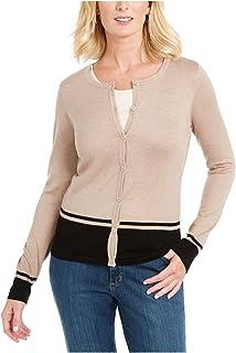 KAREN SCOTT Womens Beige Heather Long Sleeve Jewel Neck Button Up Top Petites US Size: PS