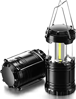 Gukos 2-Pack Camping Lantern COB LED Lights Collapsible Lamp, 350 Lumens, Handheld Size, Waterproof, Shockproof, Portable for Outdoor, Hiking, Emergency, Hurricane, Power Outage