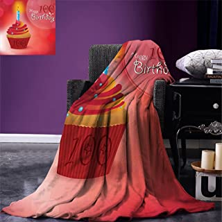 smallbeefly 100th Birthday Throw Blanket 100 Years Party Cupcake with Candle Abstract Vivid Colored Backdrop Warm Microfiber All Season Blanket for Bed or Couch Pink Red and Orange