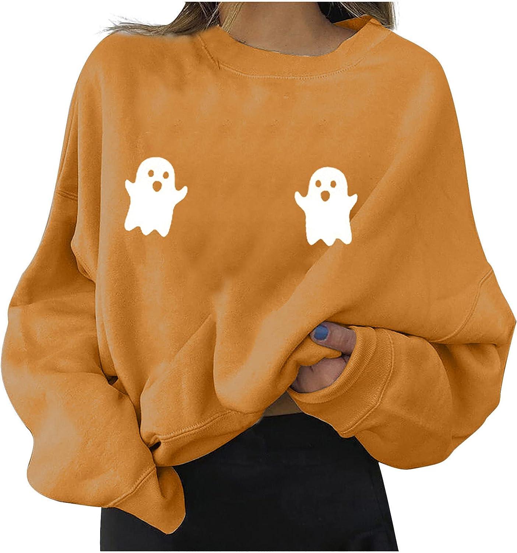 Women's Pullover Tops Autumn Fashion Halloween Printed Loose T-Shirt Pullover Long Sleeve Sweatshirt Blouse
