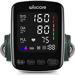 Willcare Blood Pressure Monitor, Accurate Automatic Upper Arm BP Machine for Home Use with Large Backlit Display, and Adjustable Blood Pressure Cuff, Includes Batteries