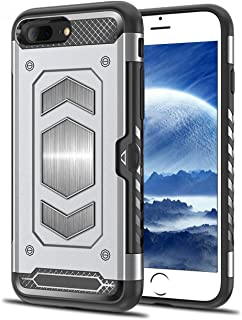 iPhone 7 Plus Case, iPhone 8 Plus Case, Teryei Military Grade Duty Premium Protective Cases Shock Magnetic Cell Phone Holder for car,Phone case iPhone 8 Plus case with Card Holder (Silver)