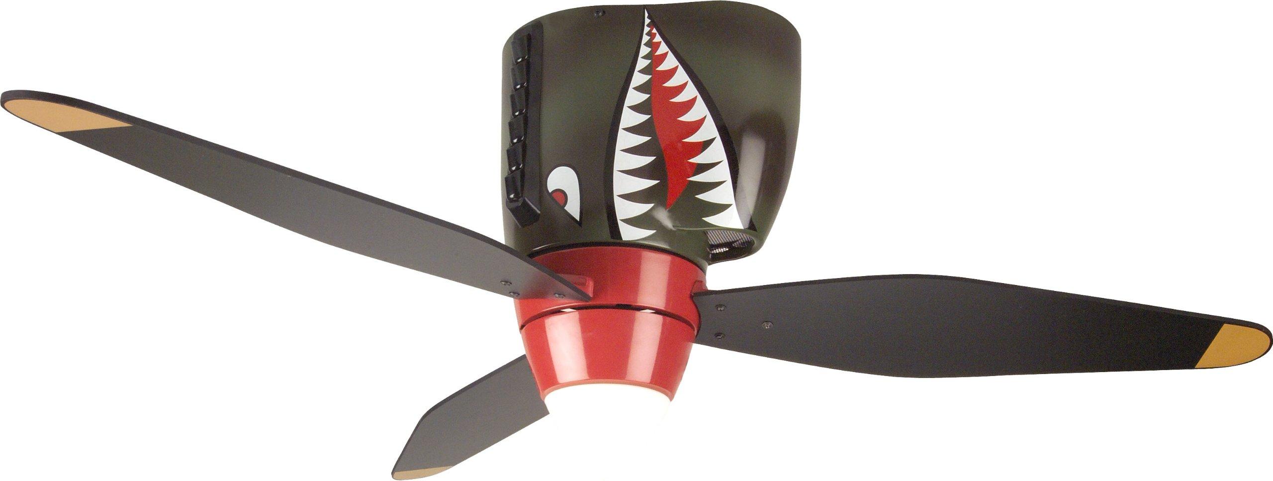 Amazon Com Craftmade Kids Ceiling Fan Boys Wb348ts Tiger Shark Warplane With Light 48 Inch 3 Blade Hugger Ceiling Fan Home Improvement