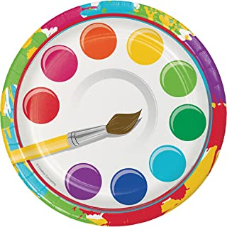 Creative Converting 317269 8-Count Sturdy Style 7-Inch Paper Dessert Plates, Art Party, 7