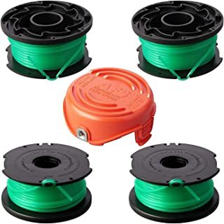 Eyoloty Trimmer Replacement Spools Compatible with Black Decker SF-080 GH3000 LST540 Weed Eater, 20ft 0.080 inch Edger Refills, Single Line Cord Parts, 90583594 Cover Cap (4 spools, 1 Cap)