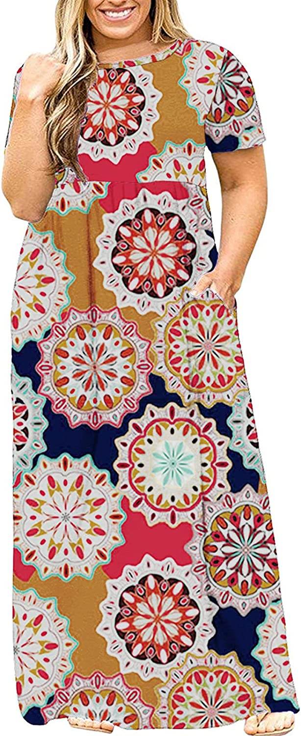 Kancystore Women's Short Sleeve Plus Size Maxi Dress with Pockets Loose Casual Summer Dresses