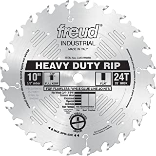 Freud 10 In. 24 Tooth Heavy Duty Rip Blade with 5/8 In. Arbor and Silver Ice Coating (LM72M010)
