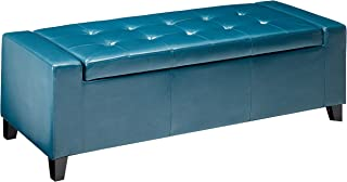 Christopher Knight Home 296755 Living Robin Teal Leather Storage Ottoman Bench