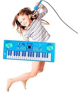 M SANMERSEN Kids Piano Keyboard, 37 Keys Portable Electronic Musical Instrument Keyboard Piano with Microphonefor Kids Early Learning Birthday Christmas Day Gifts for Kids