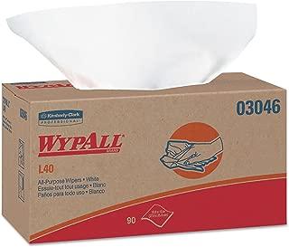 WypAll 03046 L40 Towels, POP-UP Box, White, 10 4/5 x 10, 90 per Box (Case of 9 Boxes)