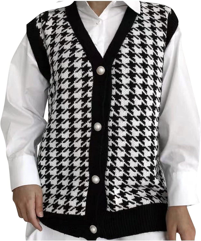 Lee-po-po Women Houndstooth Pattern Button Knit Sweater Vest Sleeveless Loose V-Neck 90s Waistcoat Pullover Knitwear Top