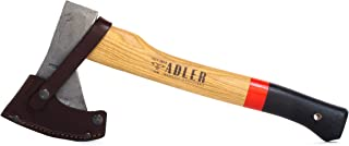 Adler Rheinland Hatchet - German Made with a 15 inch Handle Coated in Anti-Slip Black Grip Paint - 1.35 Pound Head Weight. Spanish Leather Sheath and Cotton Storage Bag Included