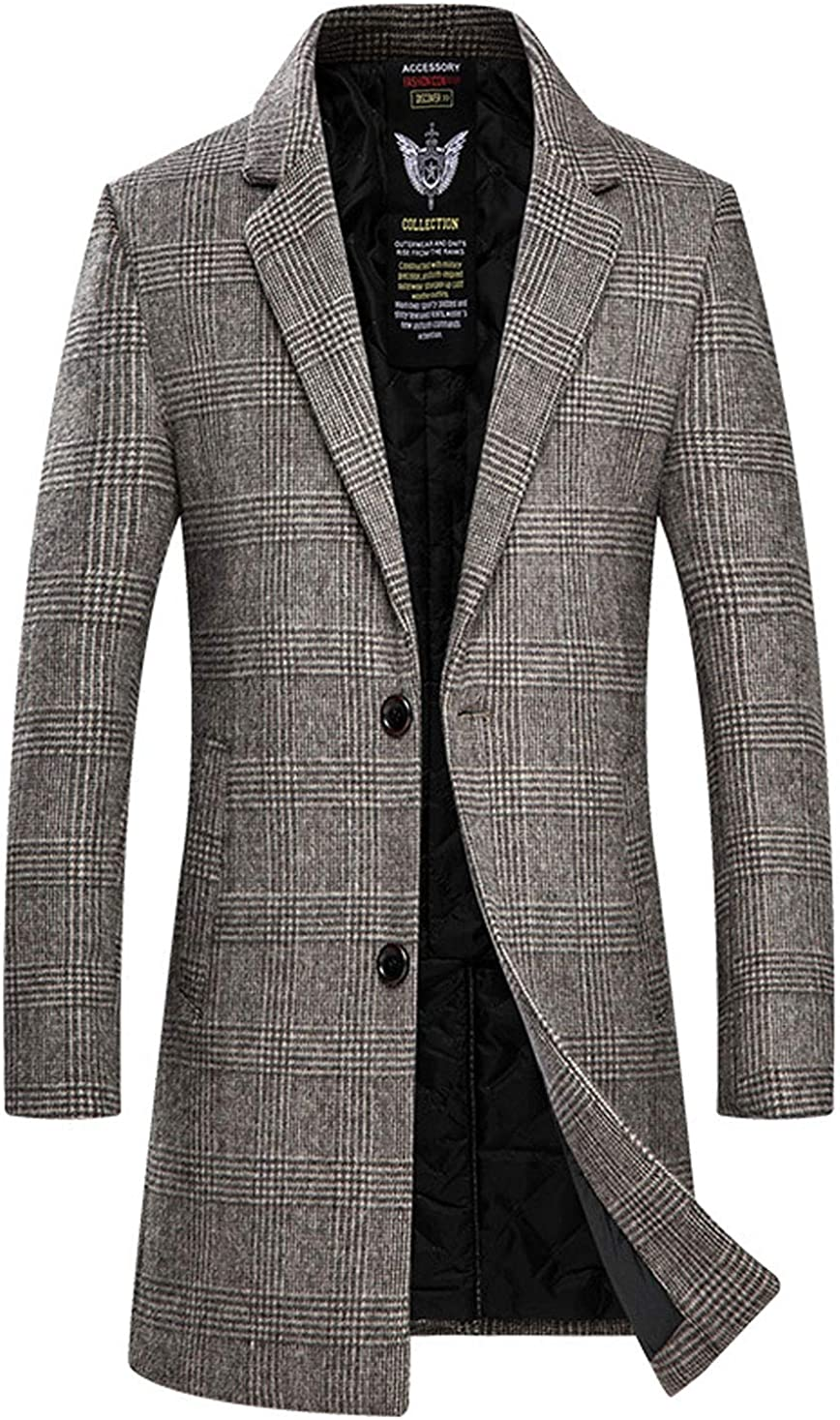 ebossy Men's Classic Notched Collar 2 Button Slim Plaid Wool Blend Overcoat