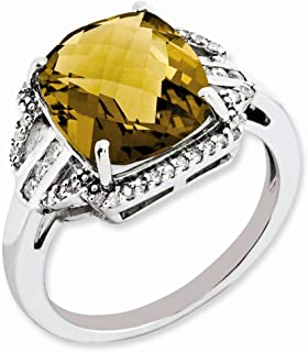 925 Sterling Silver Diamond Checker Cut Whiskey Quartz Band Ring Size 7.00 Gemstone Fine Jewelry Gifts For Women For Her