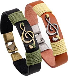 Music Note Charm Leather Bracelet Cuff for Men and Women
