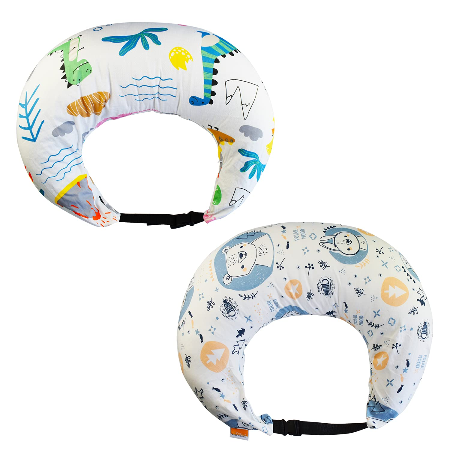 Ynaize Nursing Pillow Cover, 2 PCS Breastfeeding Pillow Slipcover for Baby Boys Girls with Adjustable Buckle, Ultra-Soft and Breathable Cotton Nursing Pillow Case for Newborn Infant (Dinosaur & Bear)