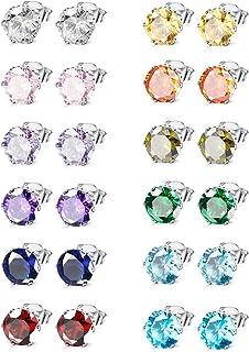 Jewelry Stainless Steel Womens CZ Stud Earings Set Piercing 12 Pairs