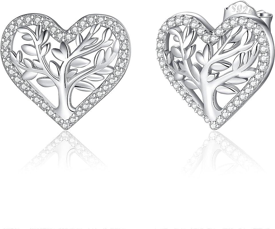 Lebensbaum Ohrringe für Damen 925 Sterling Silber 3A Zirkonia, Eleganz Damen Ohrstecker mit Geschenkbox, Durchmesser 12mm