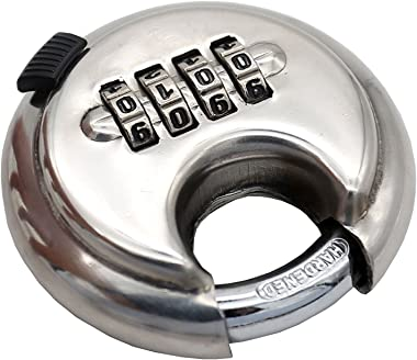 Large 4-Position Combination disc Padlock Stainless Steel Rust-Proof Door Warehouse Outdoor Round Cake Tray Padlock Discus Lo