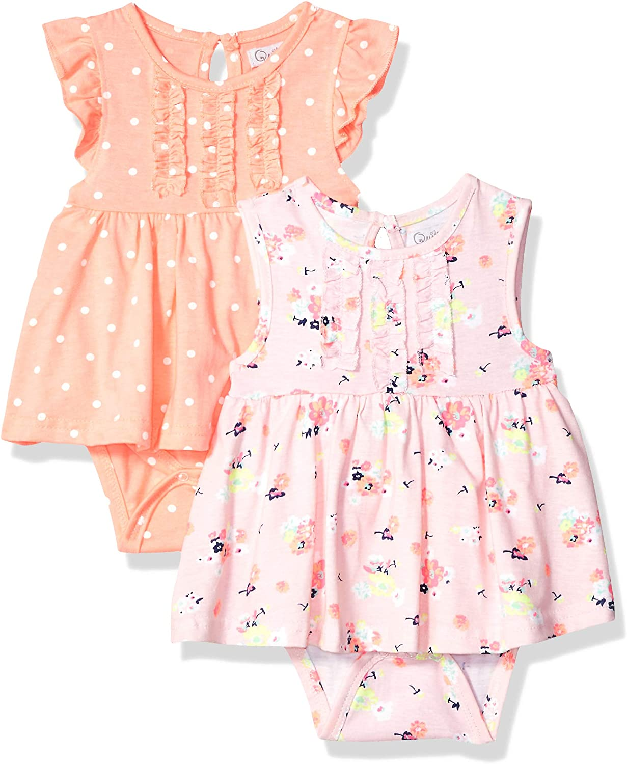 Quiltex Girls' Toddler Flower Child 2 Pack Creeper Dress with All Over Print