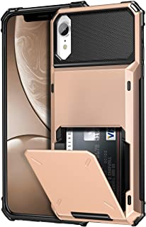 SAMONPOW Credit Card Holder Case for iPhone XR Case with 4 Card Holder Hard PC Soft Hybrid Rubber Anti Scratch Shockproof Heavy Duty Cover for iPhone XR 6.1 inch Rose Gold